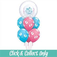 He or She Baby Shower Inflated 7 Balloon Deco Bubble Bouquet