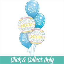 Love You to the Moon and Back Baby Shower Inflated 5 Balloon Bouquet