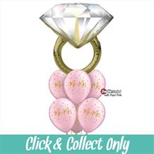 Mr and Mrs Wedding Ring Pink Large Inflated 5 Balloon Bouquet