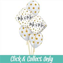 Mr and Mrs Gold Dot Wedding Inflated 5 Balloon Bouquet