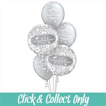 Happy Anniversary Congratulations Silver Inflated 5 Balloon Bouquet