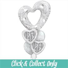 Silver Heart 25th Wedding Anniversary Large Inflated 5 Balloon Bouquet