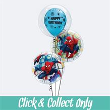 Spiderman Deco Bubble Inflated 3 Balloon Bouquet