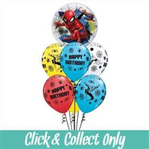 Spiderman Happy Birthday Inflated 7 Balloon Bubble Bouquet