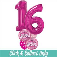 Sweet 16 Birthday Princess Large Inflated 5 Balloon Bouquet