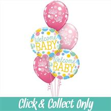 Welcome Baby Girl Inflated 5 Balloon Bouquet