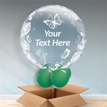 Personalisable Inflated Roses and Butterflies | Baby Shower | 1st Birthday Bubble Balloon in a Box