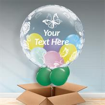 Personalisable Inflated Roses and Butterflies | Baby Shower | 1st Birthday Balloon Filled Bubble Balloon in a Box