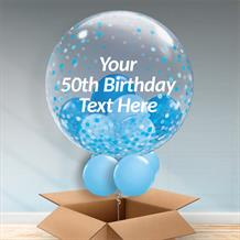 Personalisable Inflated Blue Confetti Dots 50th Birthday Balloon Filled Bubble Balloon in a Box