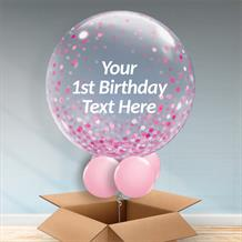 Personalisable Inflated Pink Confetti Dots | Baby Shower | 1st Birthday Bubble Balloon in a Box