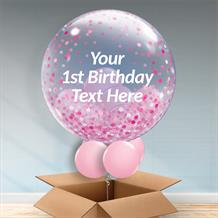 Personalisable Inflated Pink Confetti Dots | Baby Shower | 1st Birthday Balloon Filled Bubble Balloon in a Box