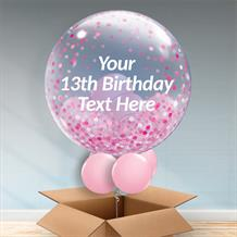 Personalisable Inflated Pink Confetti Dots 13th Birthday Balloon Filled Bubble Balloon in a Box