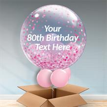Personalisable Inflated Pink Confetti Dots 80th Birthday Balloon Filled Bubble Balloon in a Box