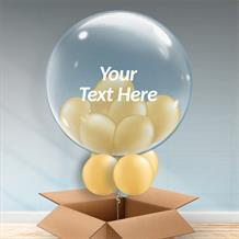 Personalisable Inflated Gold Balloon Filled Bubble Balloon in a Box