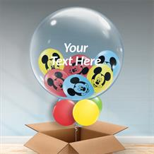 Personalisable Inflated Disney Mickey Mouse Balloon Filled Bubble Balloon in a Box