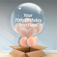 Personalisable Inflated Rose Gold 70th Birthday Balloon Filled Bubble Balloon in a Box