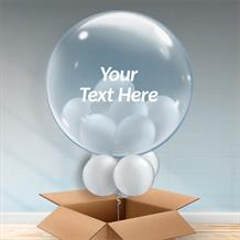 Personalisable Inflated Silver Balloon Filled Bubble Balloon in a Box