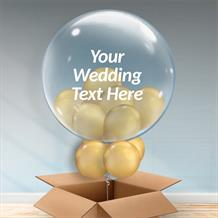 Personalisable Inflated Chrome Gold | Wedding Balloon Filled Bubble Balloon in a Box