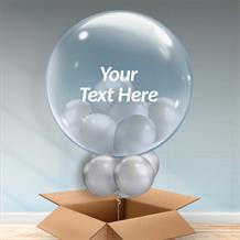 Personalisable Inflated Chrome Silver | Wedding Balloon Filled Bubble Balloon in a Box