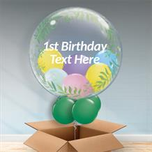 Personalisable Inflated Elegant Greenery | Baby | 1st Birthday Balloon Filled Bubble Balloon in a Box