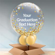 Personalisable Inflated Gold Confetti Dots | Graduation Bubble Balloon in a Box