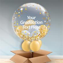 Personalisable Inflated Gold Confetti Dots | Graduation Balloon Filled Bubble Balloon in a Box