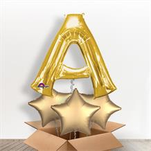Personalisable Gold Giant Letter A Balloon in a Box Gift
