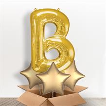 Personalisable Gold Giant Letter B Balloon in a Box Gift