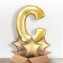 Personalisable Gold Giant Letter C Balloon in a Box Gift