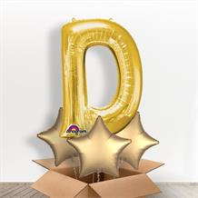Personalisable Gold Giant Letter D Balloon in a Box Gift