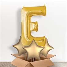 Personalisable Gold Giant Letter E Balloon in a Box Gift
