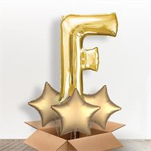 Personalisable Gold Giant Letter F Balloon in a Box Gift