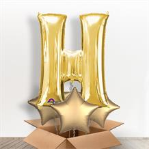 Personalisable Gold Giant Letter H Balloon in a Box Gift
