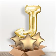 Personalisable Gold Giant Letter J Balloon in a Box Gift