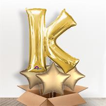 Personalisable Gold Giant Letter K Balloon in a Box Gift