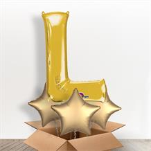 Personalisable Gold Giant Letter L Balloon in a Box Gift