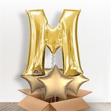Personalisable Gold Giant Letter M Balloon in a Box Gift