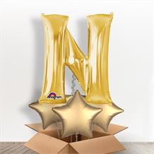 Personalisable Gold Giant Letter N Balloon in a Box Gift
