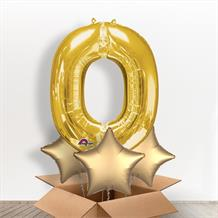 Personalisable Gold Giant Letter O Balloon in a Box Gift