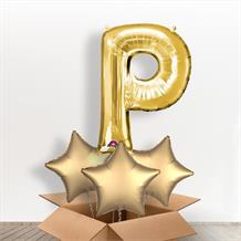 Personalisable Gold Giant Letter P Balloon in a Box Gift