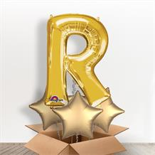 Personalisable Gold Giant Letter R Balloon in a Box Gift