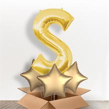 Personalisable Gold Giant Letter S Balloon in a Box Gift