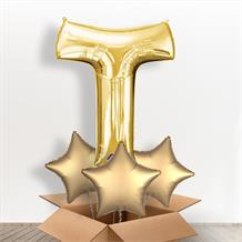 Personalisable Gold Giant Letter T Balloon in a Box Gift