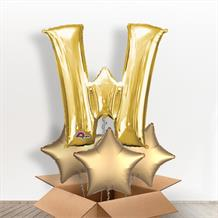 Personalisable Gold Giant Letter W Balloon in a Box Gift