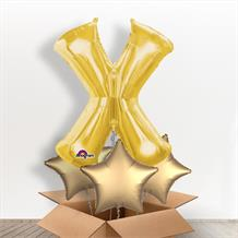 Personalisable Gold Giant Letter X Balloon in a Box Gift