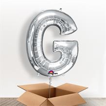 Personalisable Silver Giant Letter G Balloon in a Box Gift