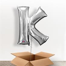 Personalisable Silver Giant Letter K Balloon in a Box Gift