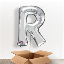 Personalisable Silver Giant Letter R Balloon in a Box Gift