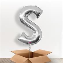 Personalisable Silver Giant Letter S Balloon in a Box Gift