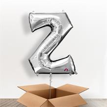 Personalisable Silver Giant Letter Z Balloon in a Box Gift